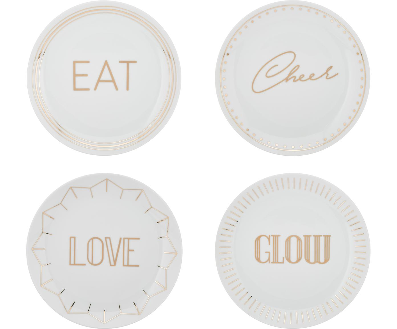 Porseleinen ontbijtborden Glimmer met goudkleurig opschrift, 4 stuks, Porselein, Wit, goudkleurig, Ø 21 cm