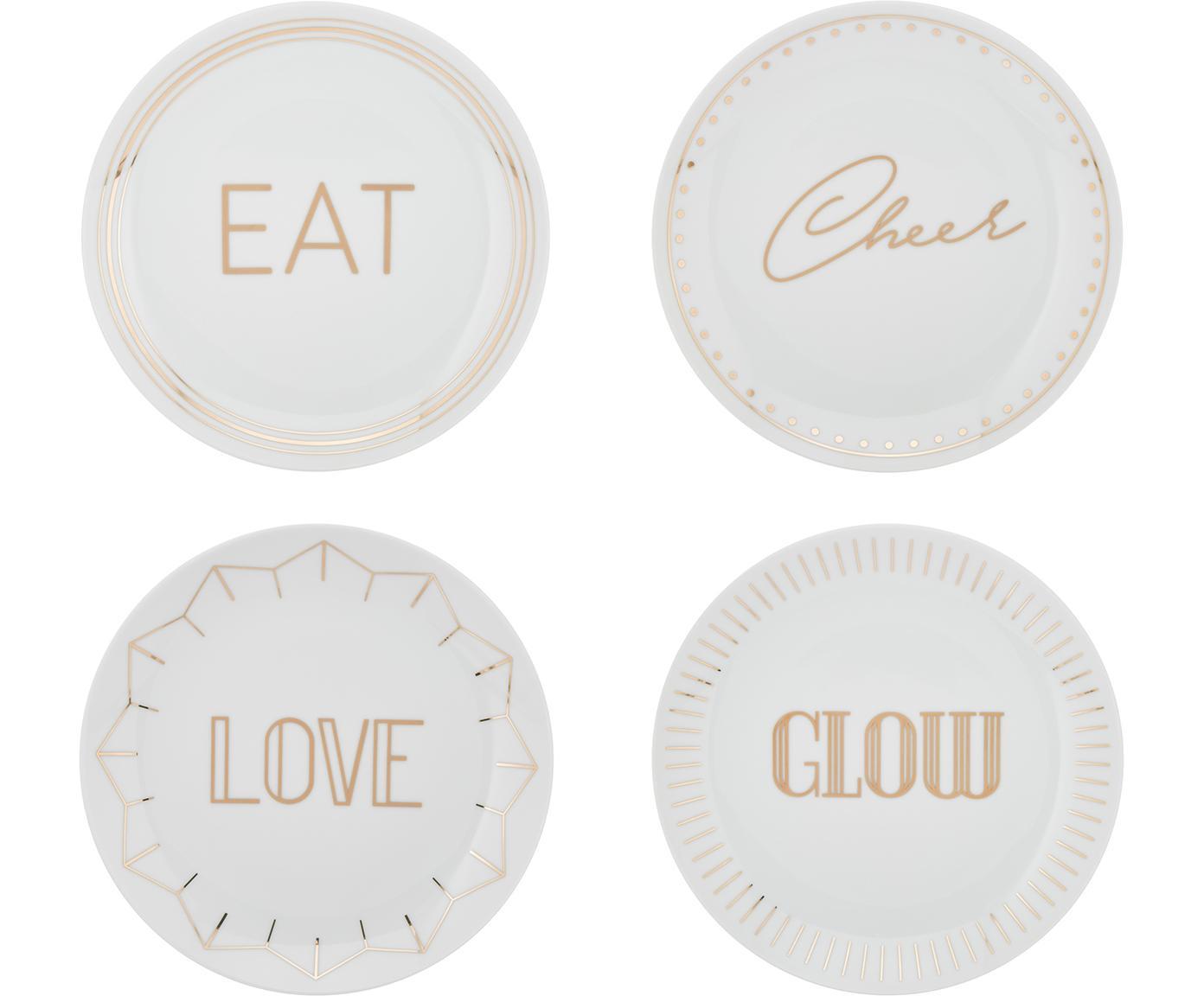 Set de platos de postre de porcelana Glimmer, 4pzas., Porcelana, Blanco, dorado, Ø 21 cm