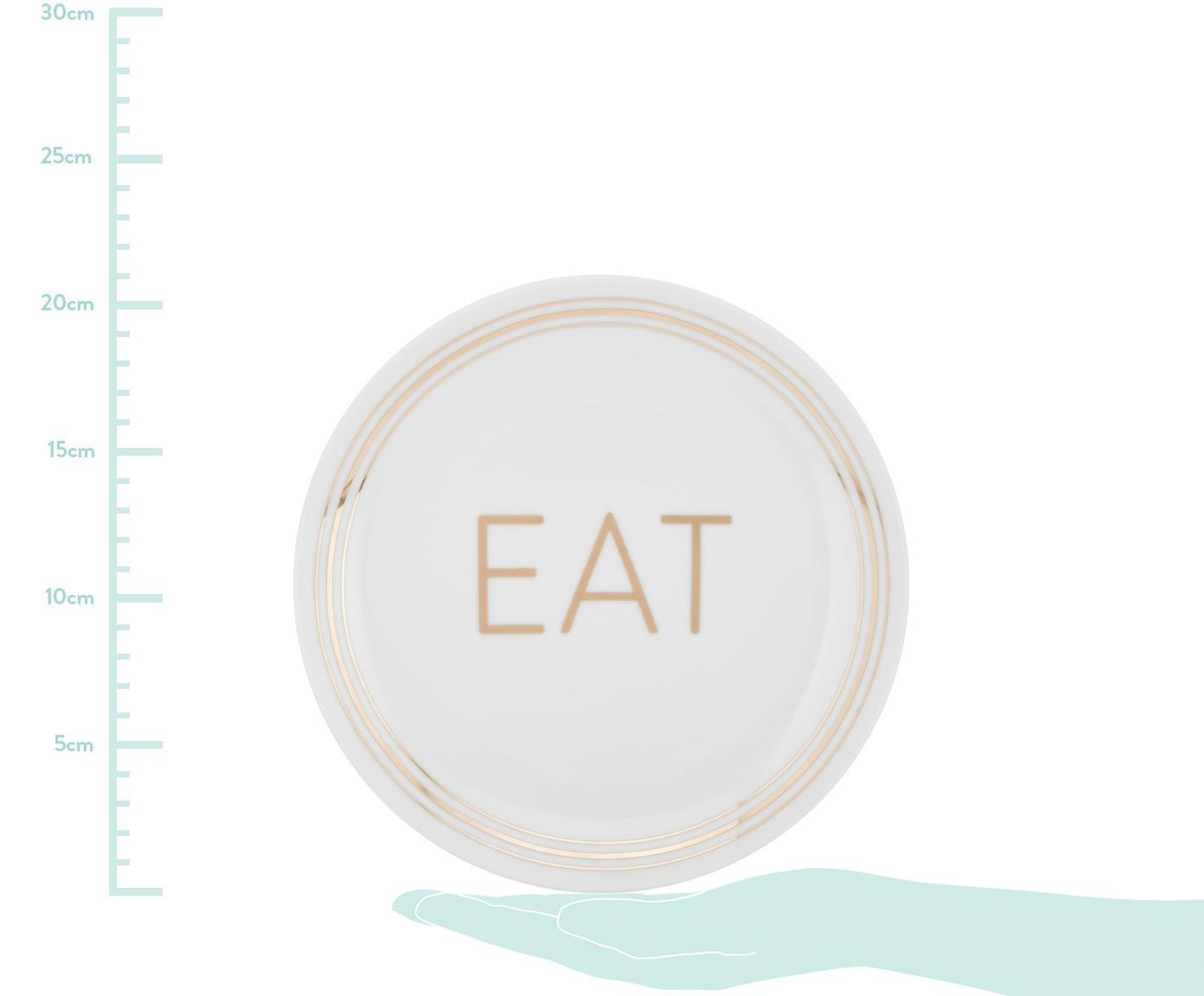 Set 4 piattini da dessert in porcellana Glimmer, Porcellana, Bianco, dorato, Ø 21 cm