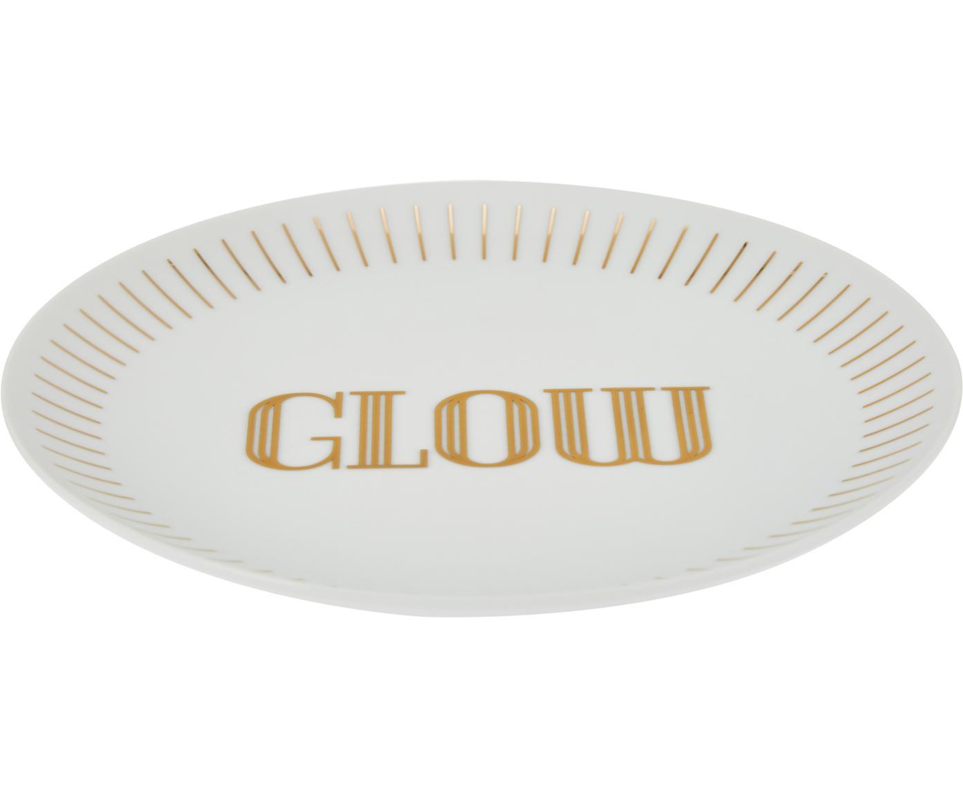 Assiette à dessert porcelaine Glimmer, 4élém., Blanc, couleur dorée