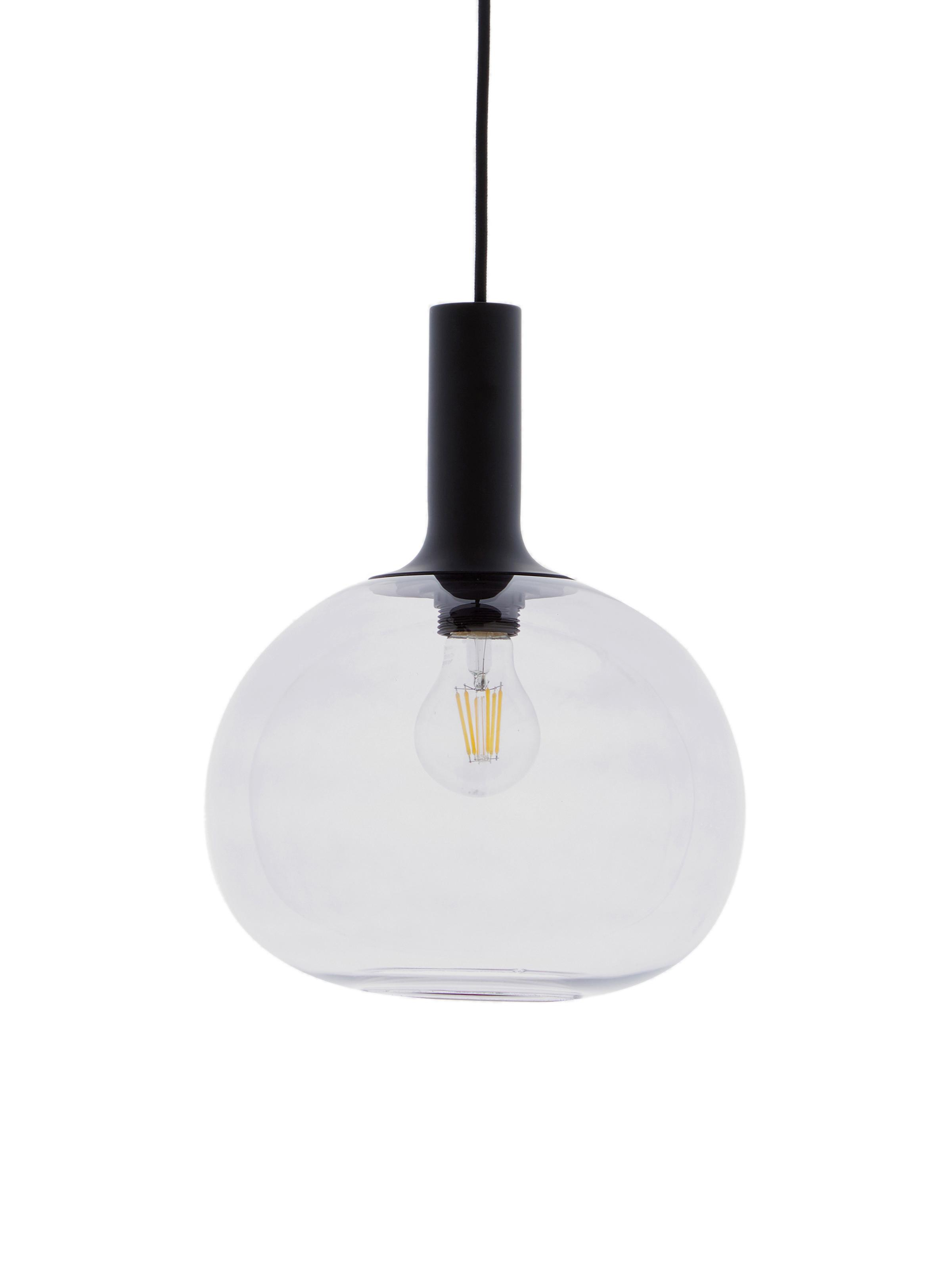 Hanglamp Alton, Lampenkap: glas, Zwart, grijs, transparant, Ø 25 x H 33 cm
