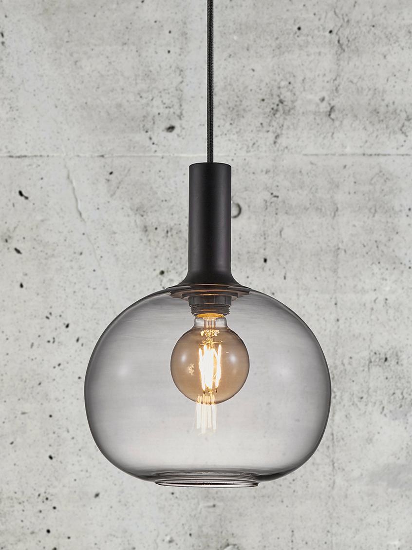 Hanglamp Alton van glas, Lampenkap: glas, Zwart, grijs, transparant, Ø 25 x H 33 cm