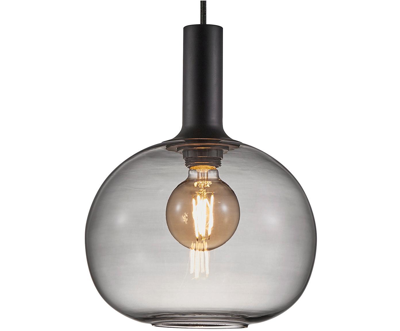Lámpara de techo Alton, Pantalla: vidrio, Cable: cubierto en tela, Negro, gris, transparente, Ø 25 x Al 33 cm