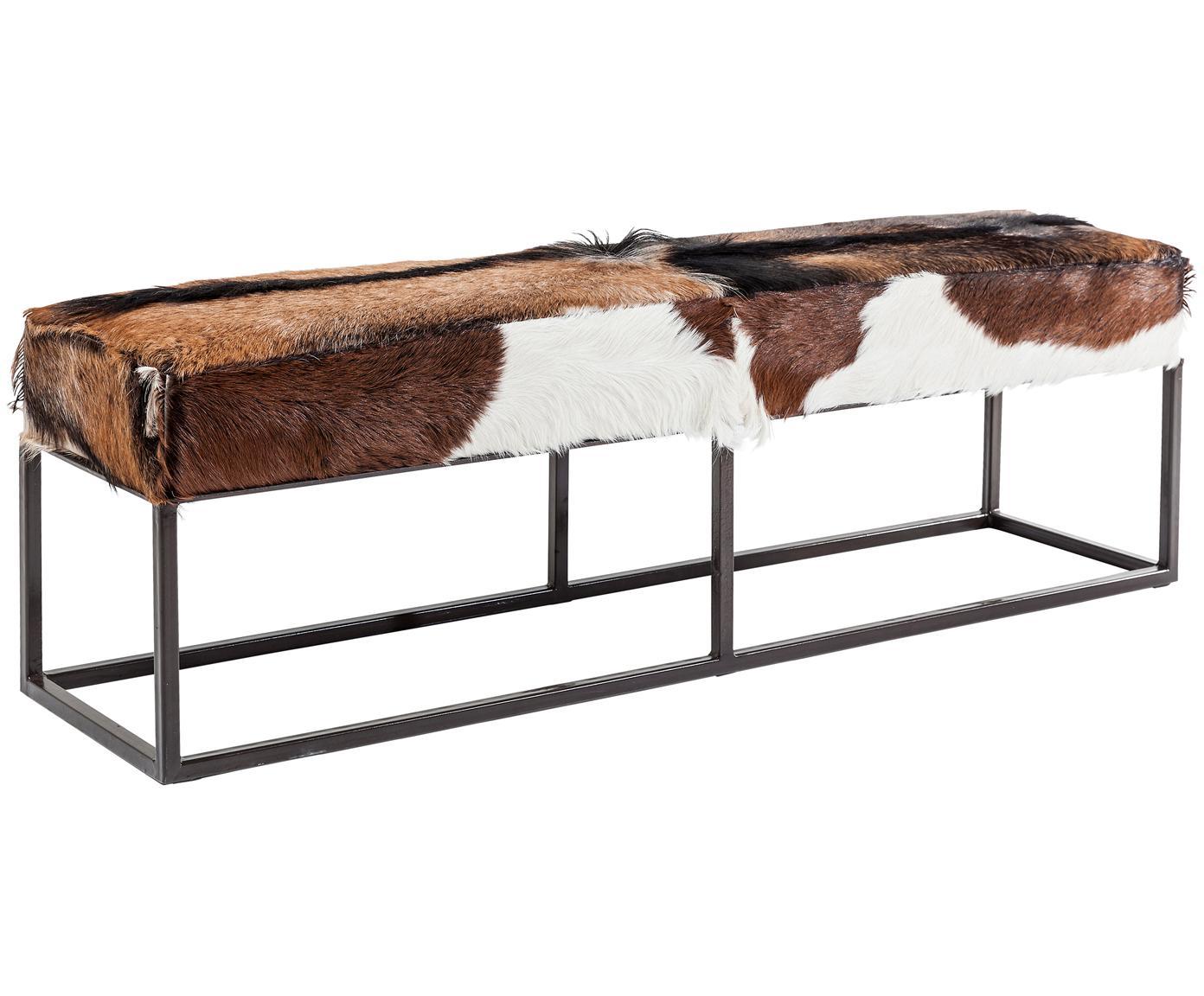 Bankje van geitenvacht Country Life, Zitvlak: geitenvacht, Frame: gelakt staal, Zitvlak: geitenvacht. Frame: staalkleurig, 140 x 47 cm