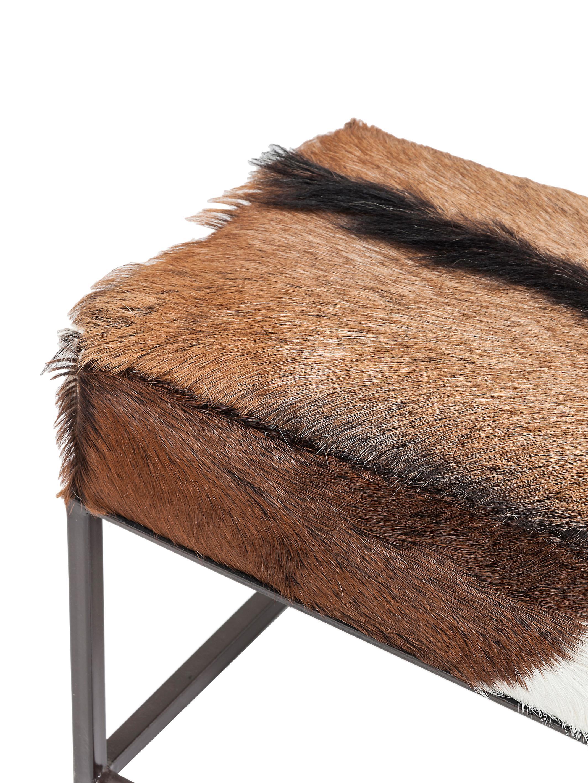Ziegenfell-Sitzbank Country Life, Sitzfläche: Ziegenfell, Gestell: Stahl, lackiert, Sitzfläche: Ziegenfell<br>Gestell: Stahl, lackiert, 140 x 47 cm
