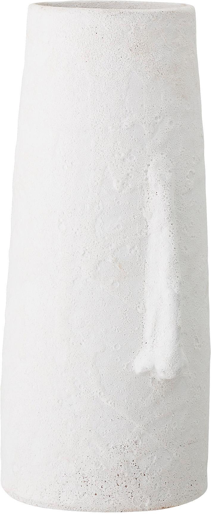 Grote decoratieve vaas Nose van terracotta, Terracotta, Wit, 20 x 40 cm