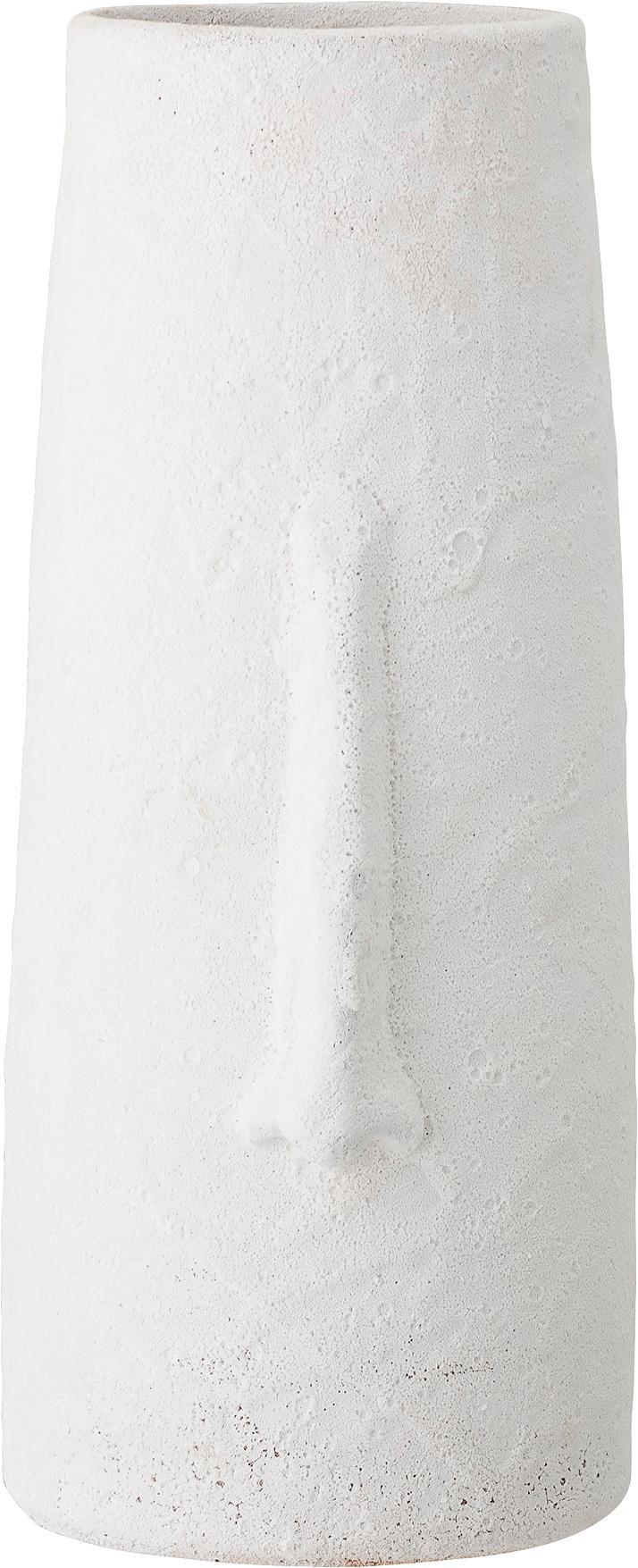 Große Deko-Vase Nose aus Terracotta, Terrakotta, Weiß, 20 x 40 cm