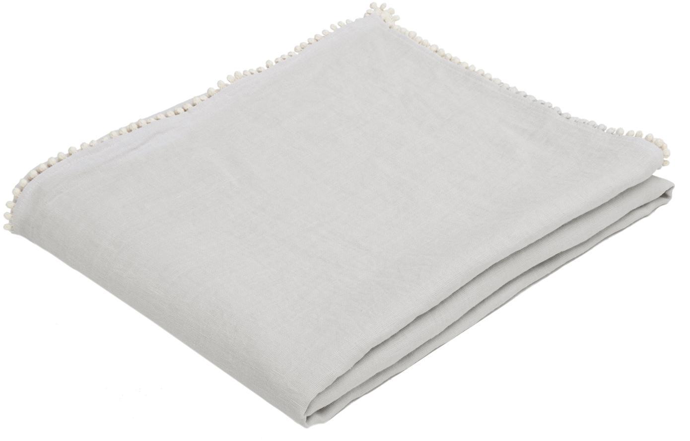 Leinen-Tischdecke Pom Pom, Leinen, Hellgrau, Für 6 - 8 Personen (B 150 x L 250 cm)