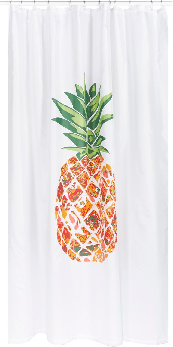 Tenda da doccia con motivo ananas Pineapple, 100% poliestere Idrorepellente non impermeabile, Bianco, verde, arancione, rosso, Larg. 180 x Lung. 200 cm