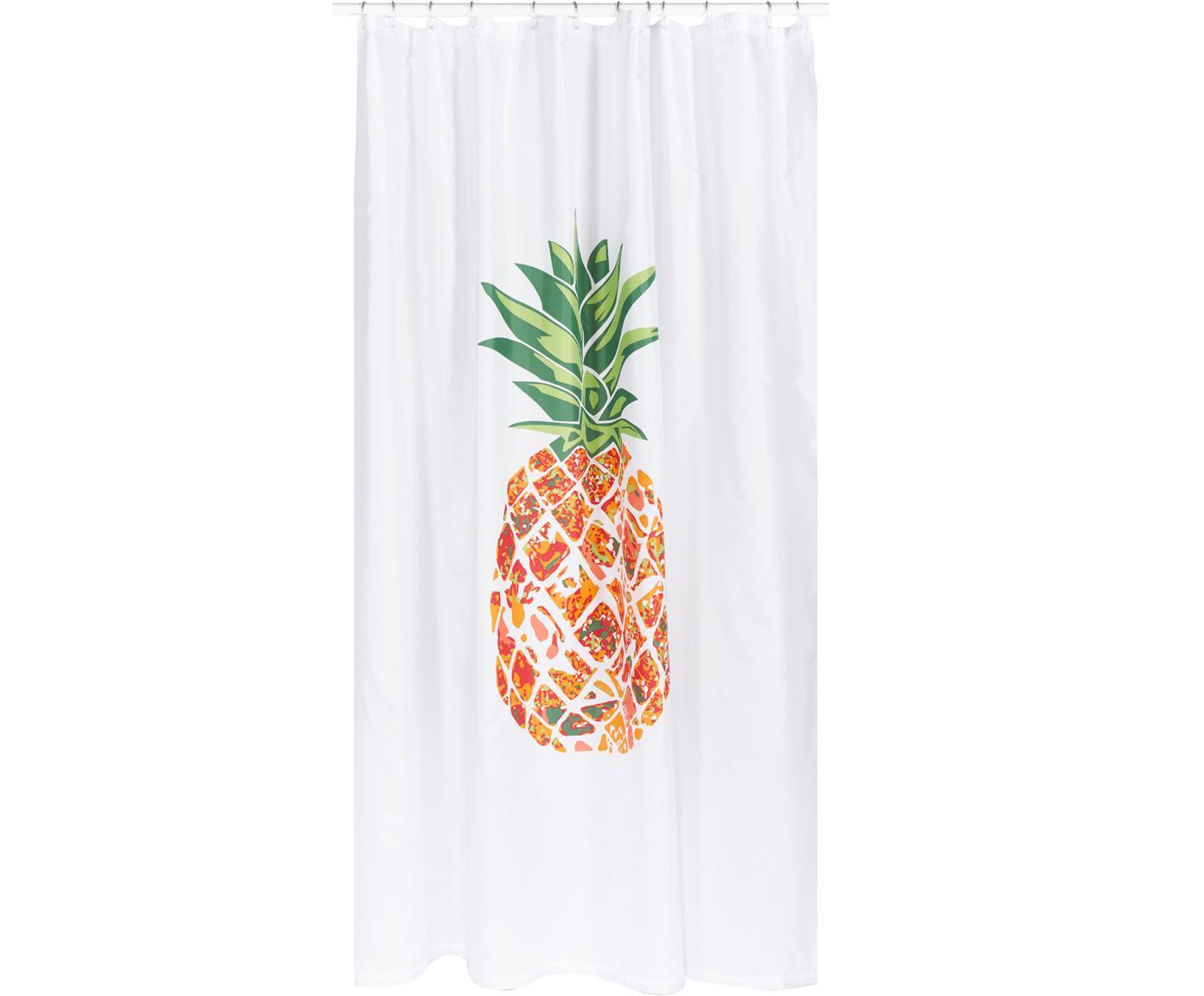 Duschvorhang Pineapple mit Ananas-Motiv, 100% Polyester Wasserabweisend, nicht wasserdicht, Weiß, Grün, Orange, Rot, 180 x 200 cm
