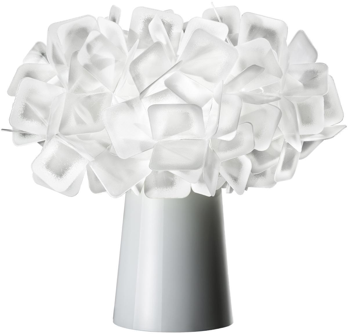 Design tafellamp Clizia, Lampenkap: technopolymeer Lentiflex®, Lampvoet: gecoat staal, Wit, Ø 27 x H 25 cm