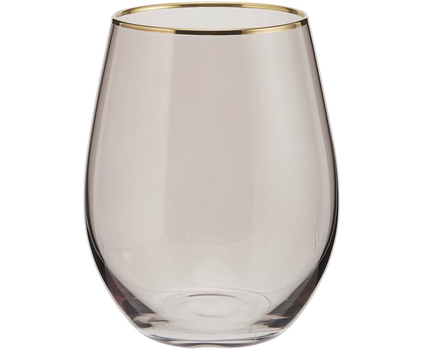 Waterglazen Chloe, 4 stuks, Glas, Donkerblauw, goudkleurig, Ø 10 x H 15 cm