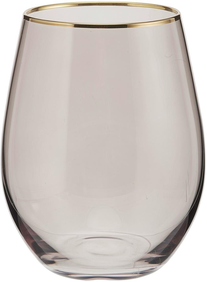 Wassergläser Chloe in Graublau mit Goldrand, 4er-Set, Glas, Dunkelblau, Goldfarben, Ø 9 x H 12 cm