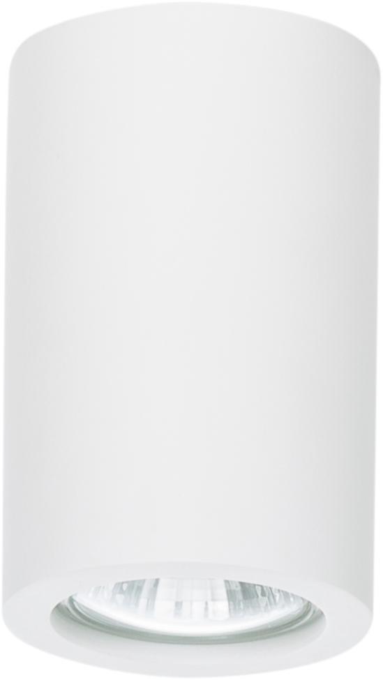 Beschilderbare plafondlamp Gypsum in wit, Gips, Wit, Ø 7 x H 11 cm