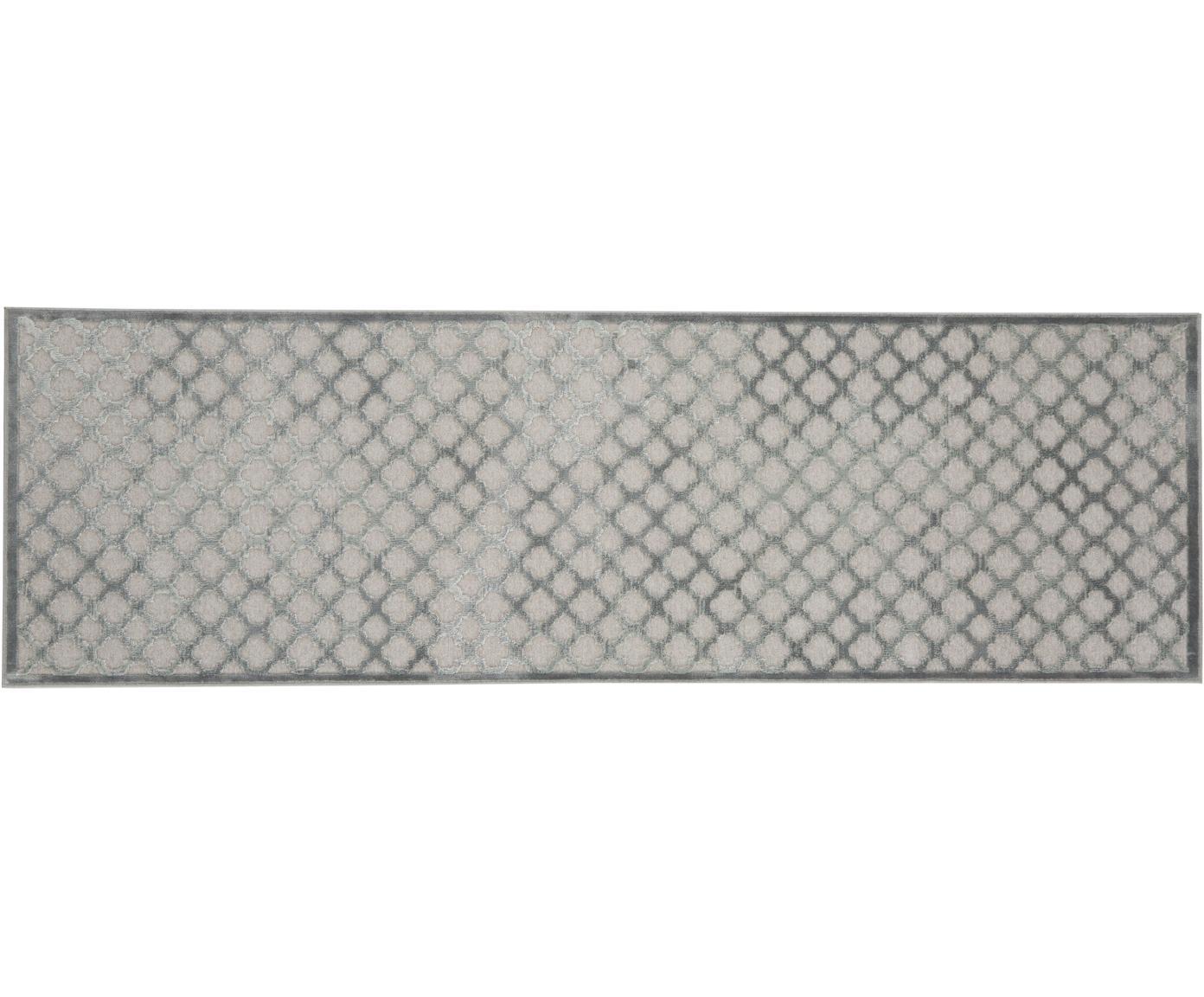 Passatoia in viscosa Bryon, Vello: viscosa, Retro: lattice, Grigio, Larg. 80 x Lung. 250 cm