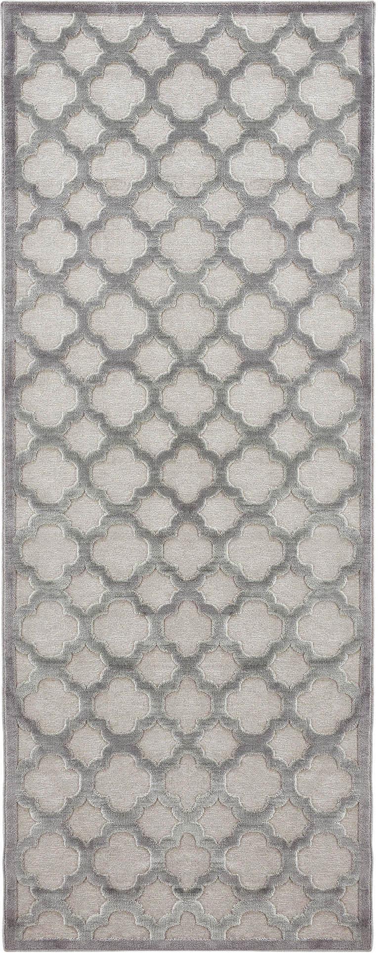 Viscose loper Bryon, Bovenzijde: viscose, Onderzijde: latex, Grijs, 80 x 250 cm