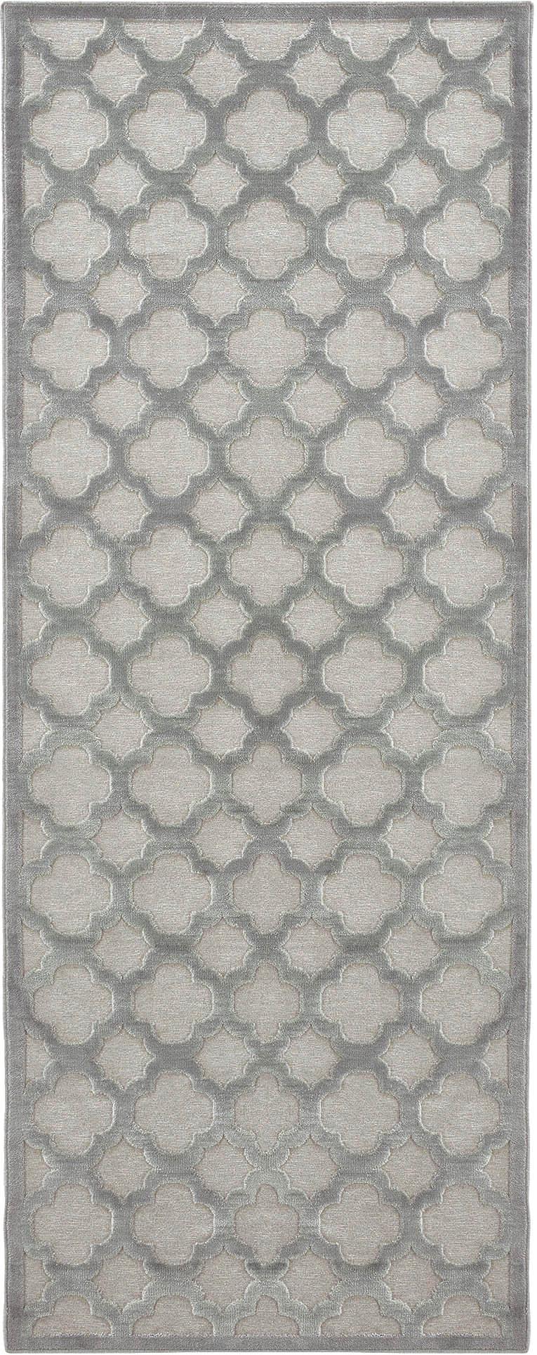 Alfombra de viscosa Bryon, Parte superior: viscosa, Reverso: látex, Gris, An 80 x L 250 cm