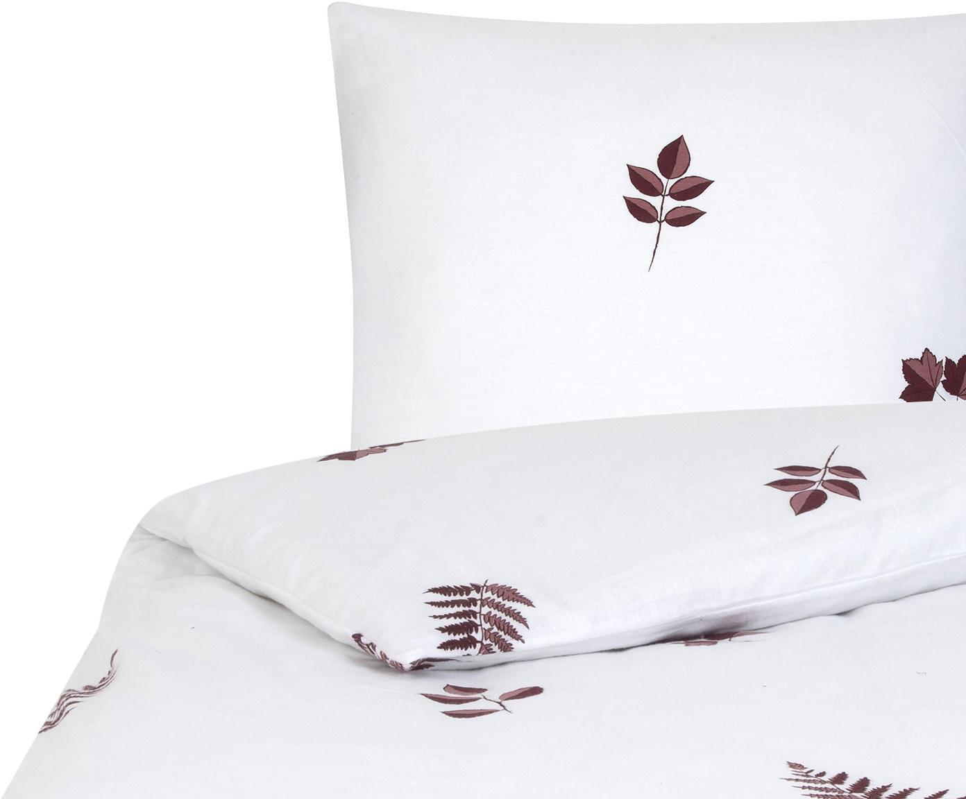 Flanell-Bettwäsche Fraser mit winterlichem Blattmuster, Webart: Flanell Flanell ist ein s, Bordeaux, Weiss, 135 x 200 cm + 1 Kissen 80 x 80 cm