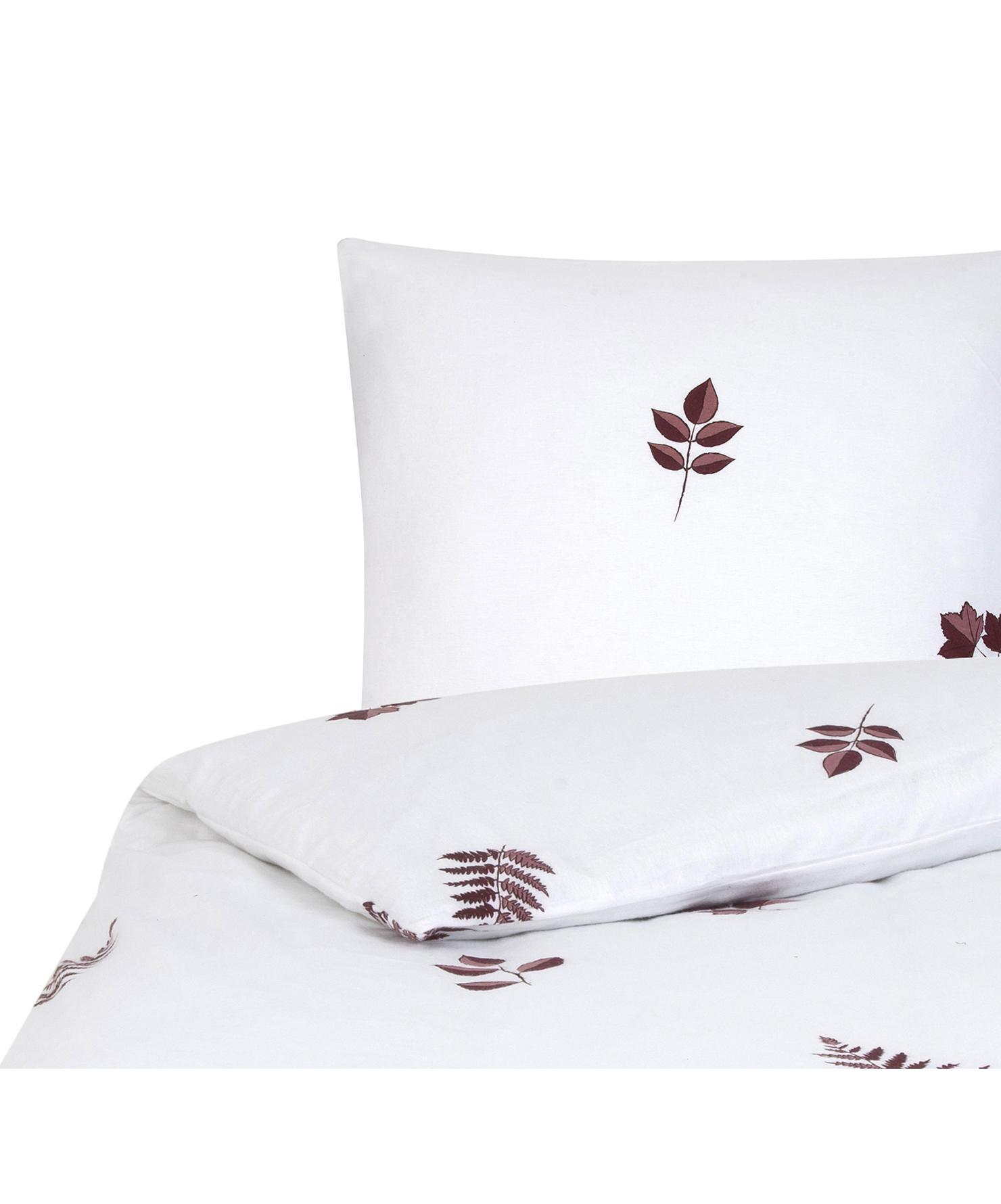 Flanell-Bettwäsche Fraser mit winterlichem Blattmuster, Webart: Flanell Flanell ist ein s, Bordeaux, Weiß, 240 x 220 cm + 2 Kissen 80 x 80 cm