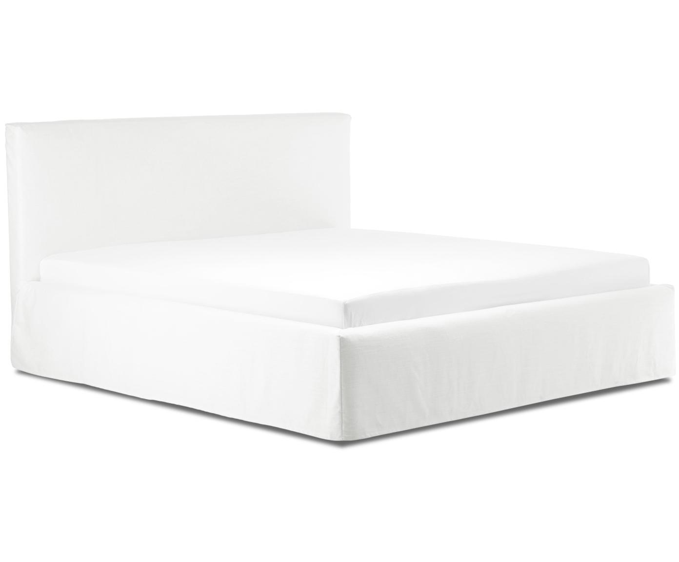 Łóżko tapicerowane z funkcją przechowywania Feather, Korpus: lite drewno sosnowe, Tapicerka: poliester (materiał tekst, Kremowobiały, 160 x 200 cm