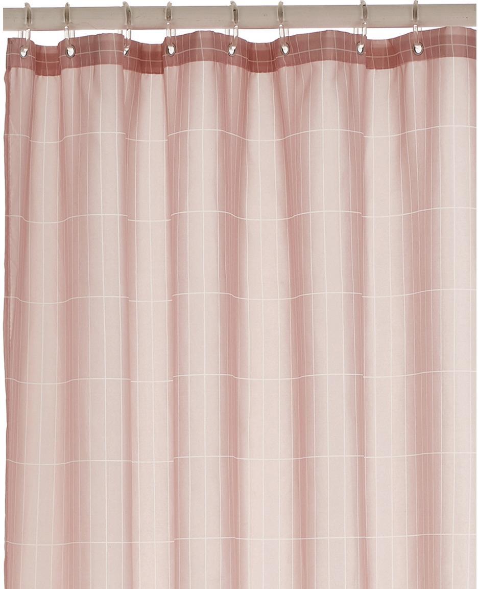 Geruit douchegordijn Tiles, Oogjes: metaal, Roze, 180 x 200 cm
