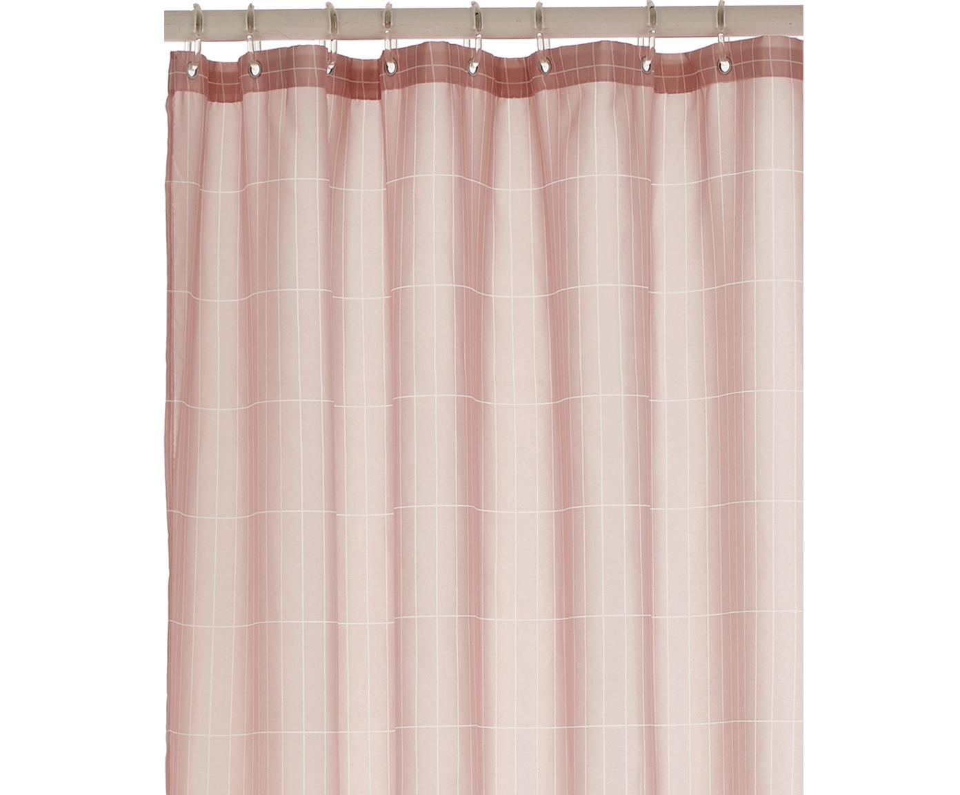 Douchegordijn Tiles, Oogjes: metaal, Roze, 180 x 200 cm