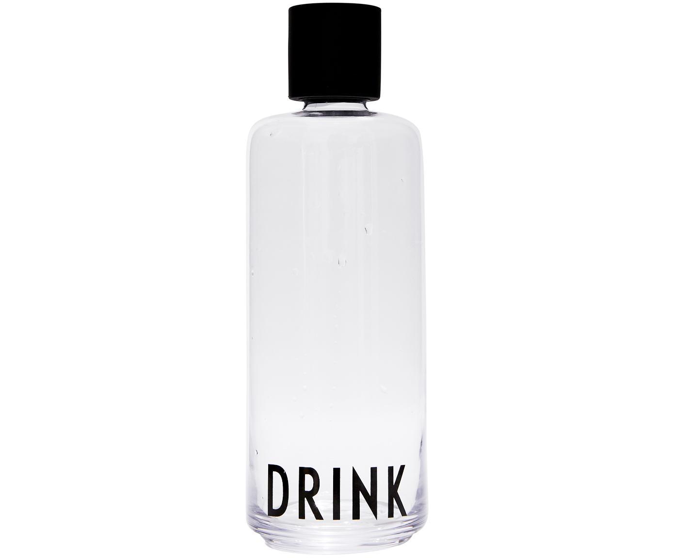Design Karaffe Daily Drink mit Schriftzug, Verschluss: Silikon, Transparent, 1 L