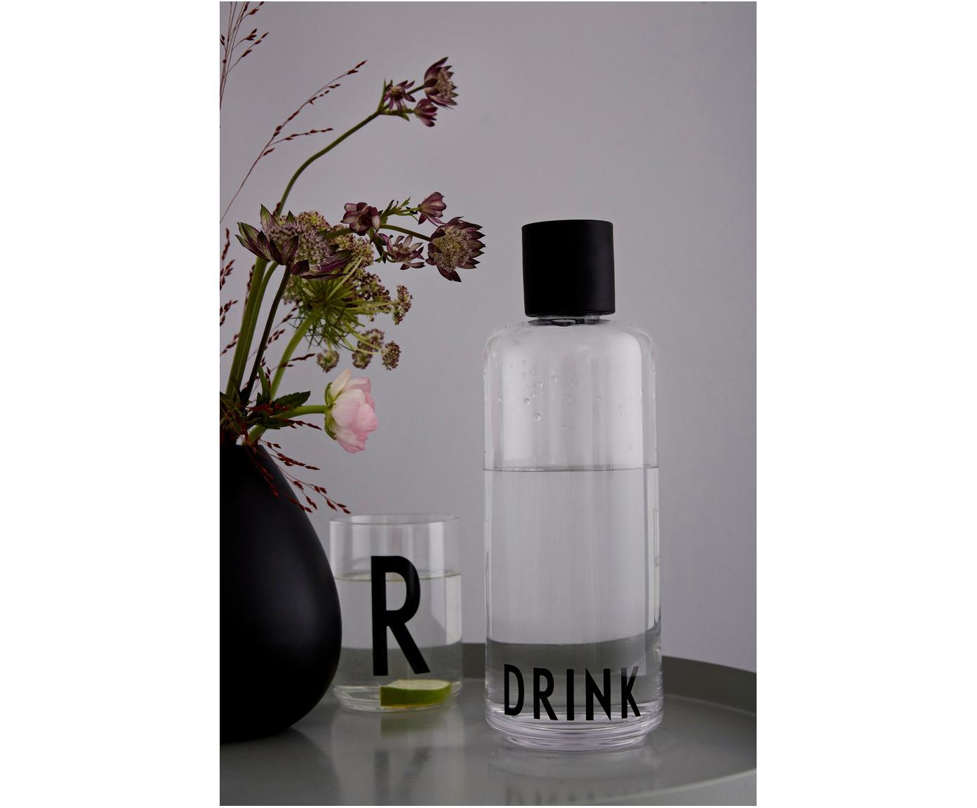 Design Karaffe Daily Drink mit Schriftzug, Transparent, 1 L