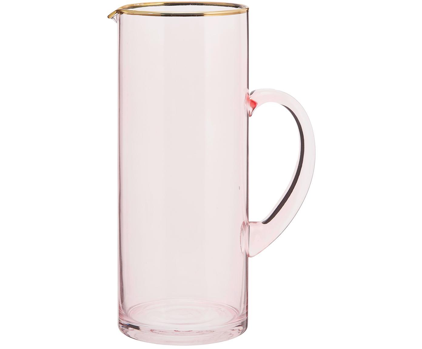 Krug Chloe in Rosa mit Goldrand, Glas, Pfirsich, 1.6 L