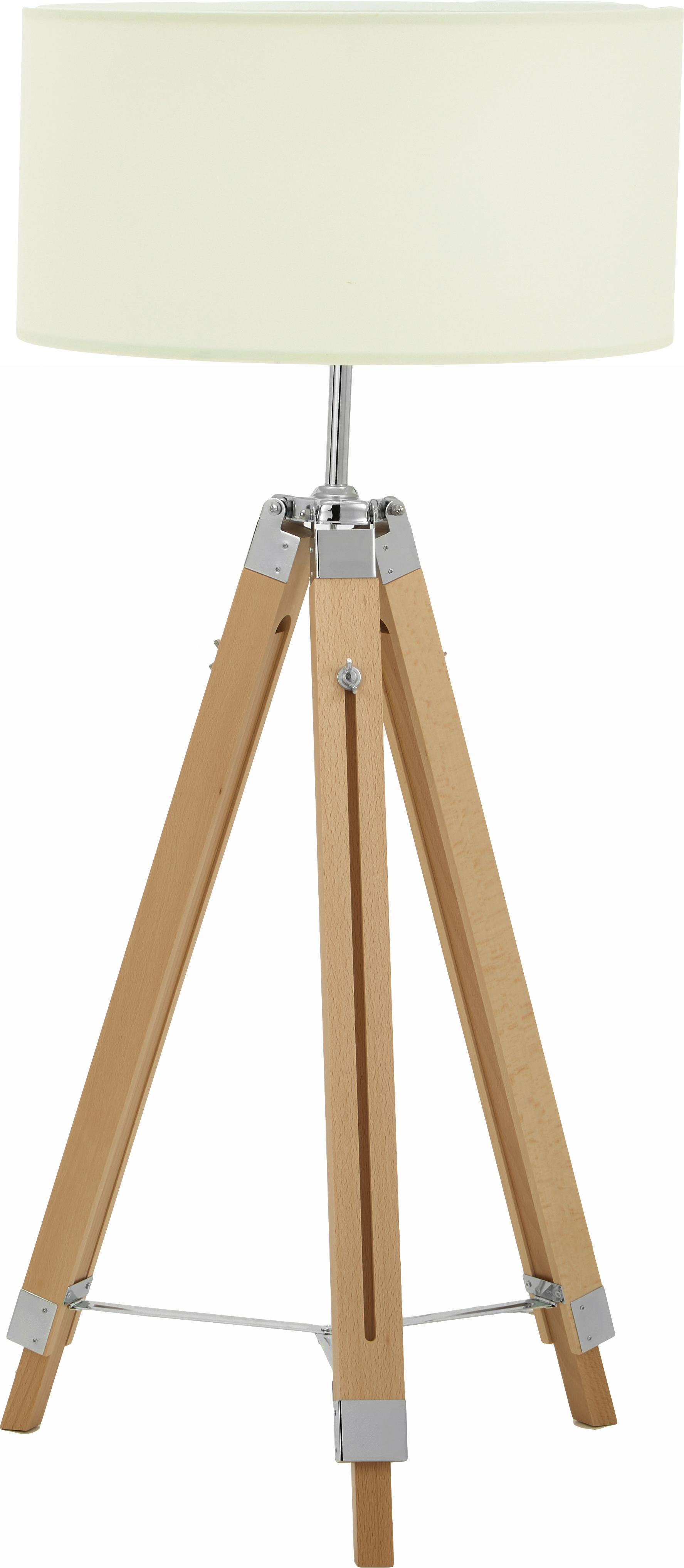 Vloerlamp Lantada van hout, in hoogte verstelbaar, Lampenkap: polyester, Lampvoet: hout, Crèmekleurig, bruin, Ø 70 x H 150 cm