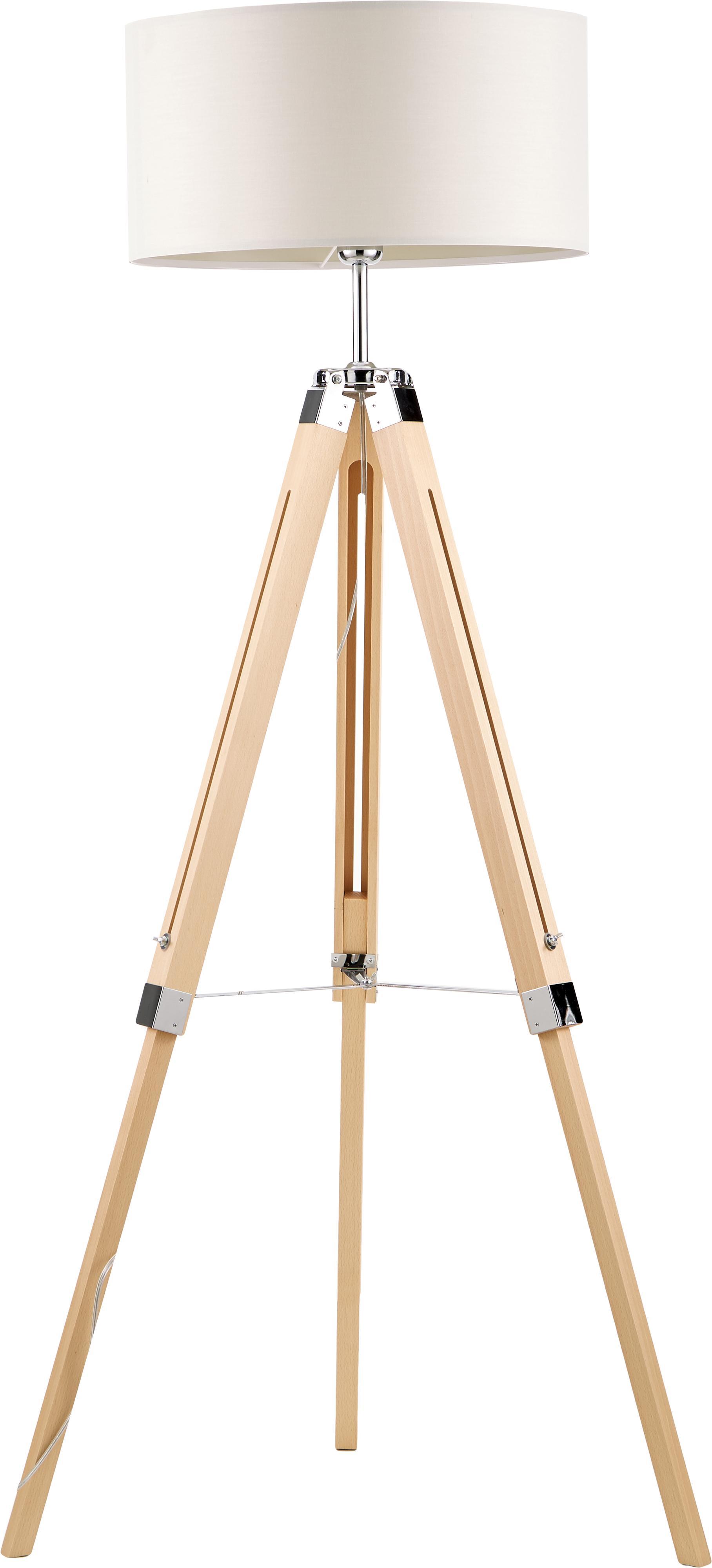 Tripod Stehlampe Josey aus Holz, Lampenschirm: Textil, Creme, Braun, Ø 70 x H 150 cm