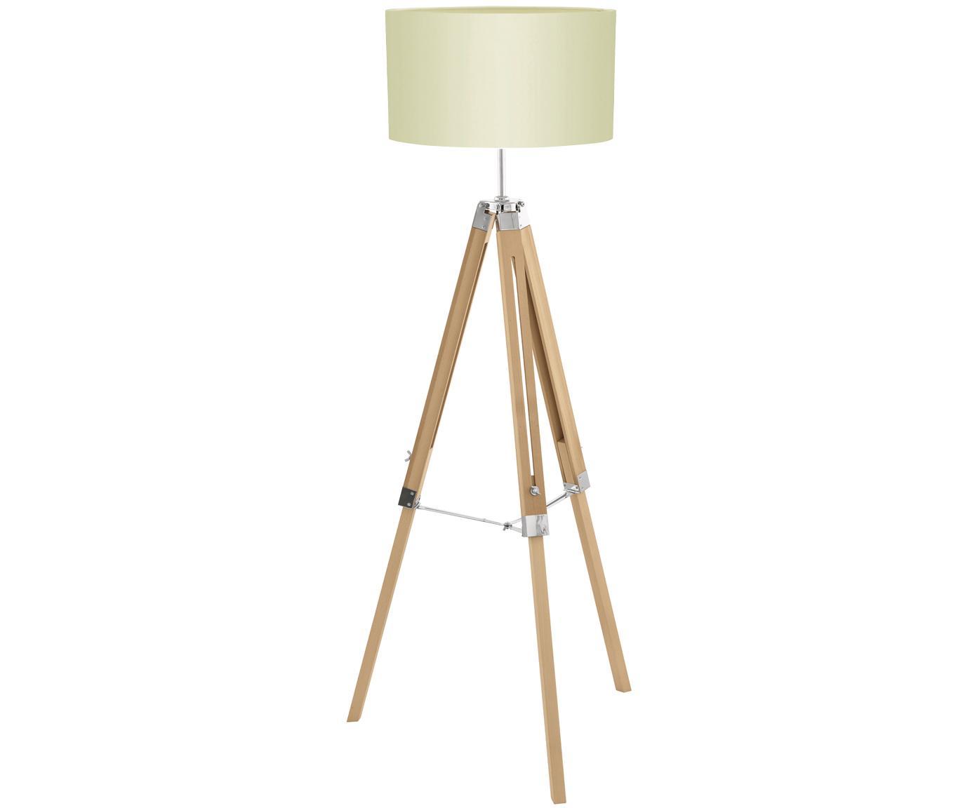 Stehlampe Lantada aus Holz, höhenverstellbar, Lampenschirm: Polyester, Lampenfuß: Holz, Creme, Braun, Ø 70 x H 150 cm