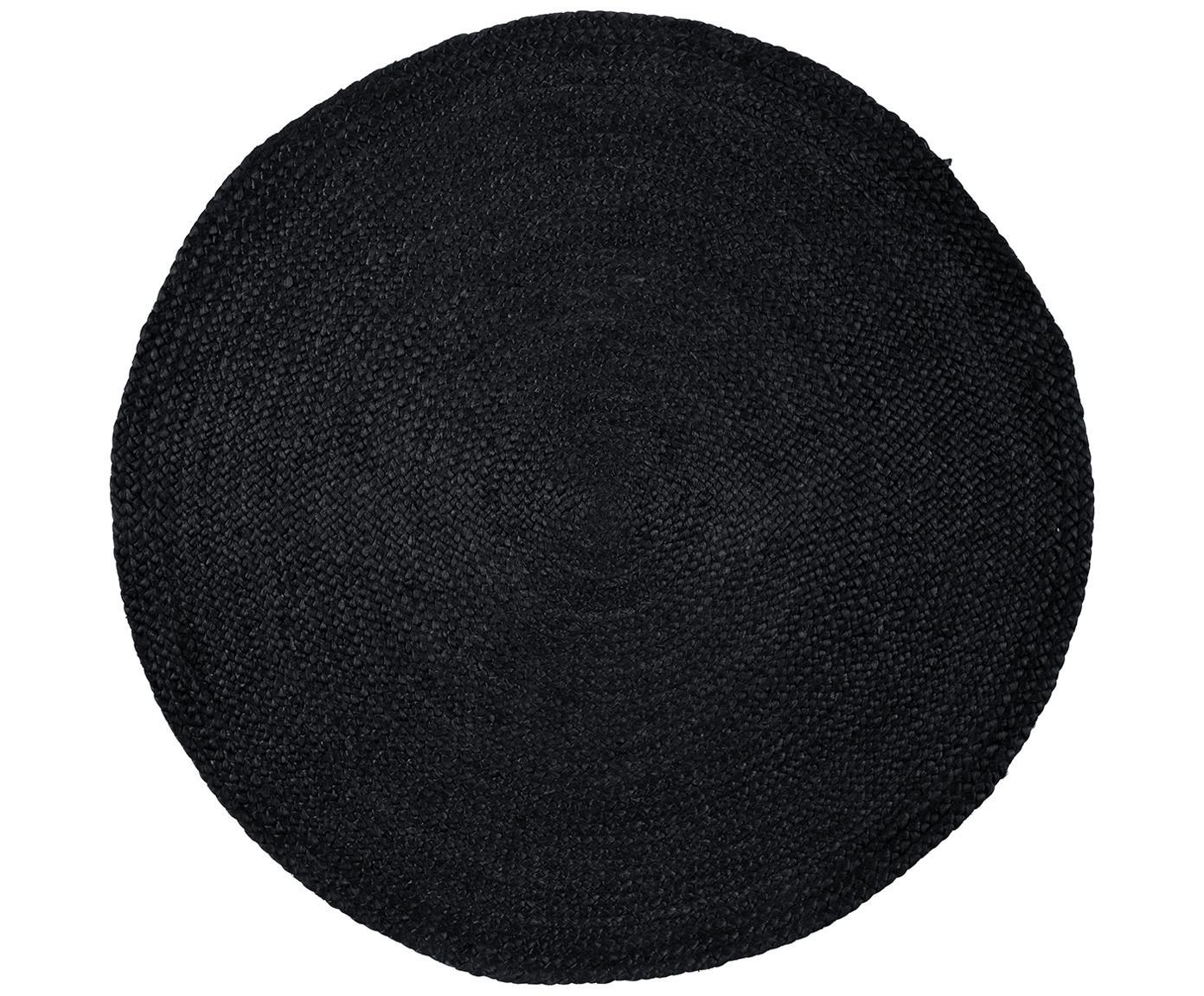 Runder Jute-Teppich Sheela in Schwarz, handgefertigt, Schwarz, Ø 100 cm (Grösse XS)