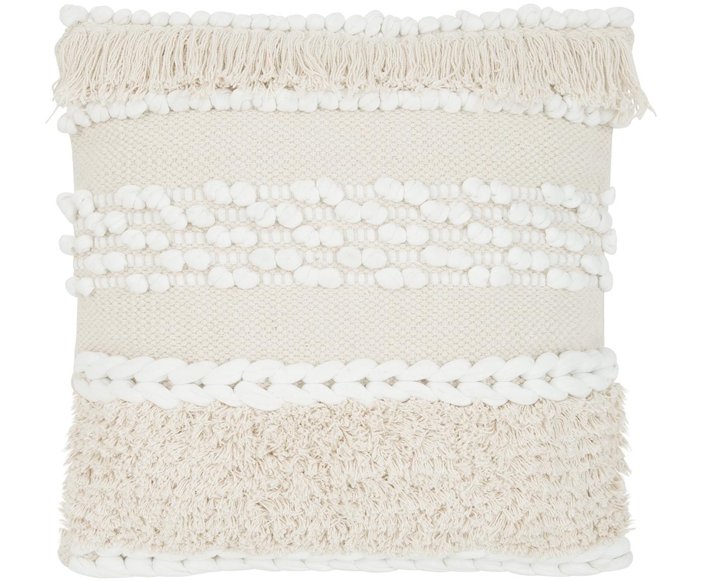 Federa arredo in ecru Anoki, 80% cotone, 20% poliestere, Ecru, bianco, Larg. 45 x Lung. 45 cm