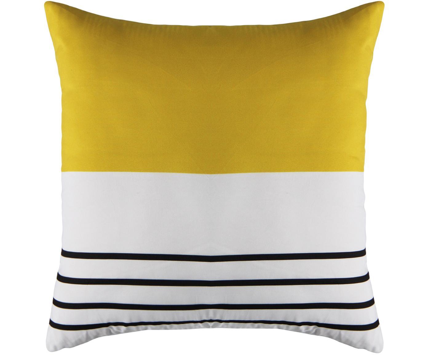 Federa arredo a righe Magdalena, Poliestere, Bianco, giallo, nero, Larg. 40 x Lung. 40 cm