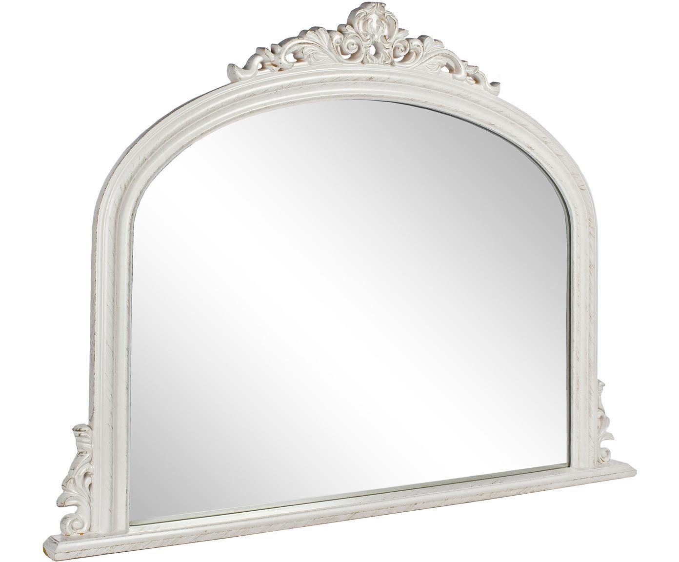 Specchio da parete con legno bianco Miro, Cornice: legno rivestito, Superficie dello specchio: lastra di vetro, Bianco, Larg. 120 x Alt. 90 cm