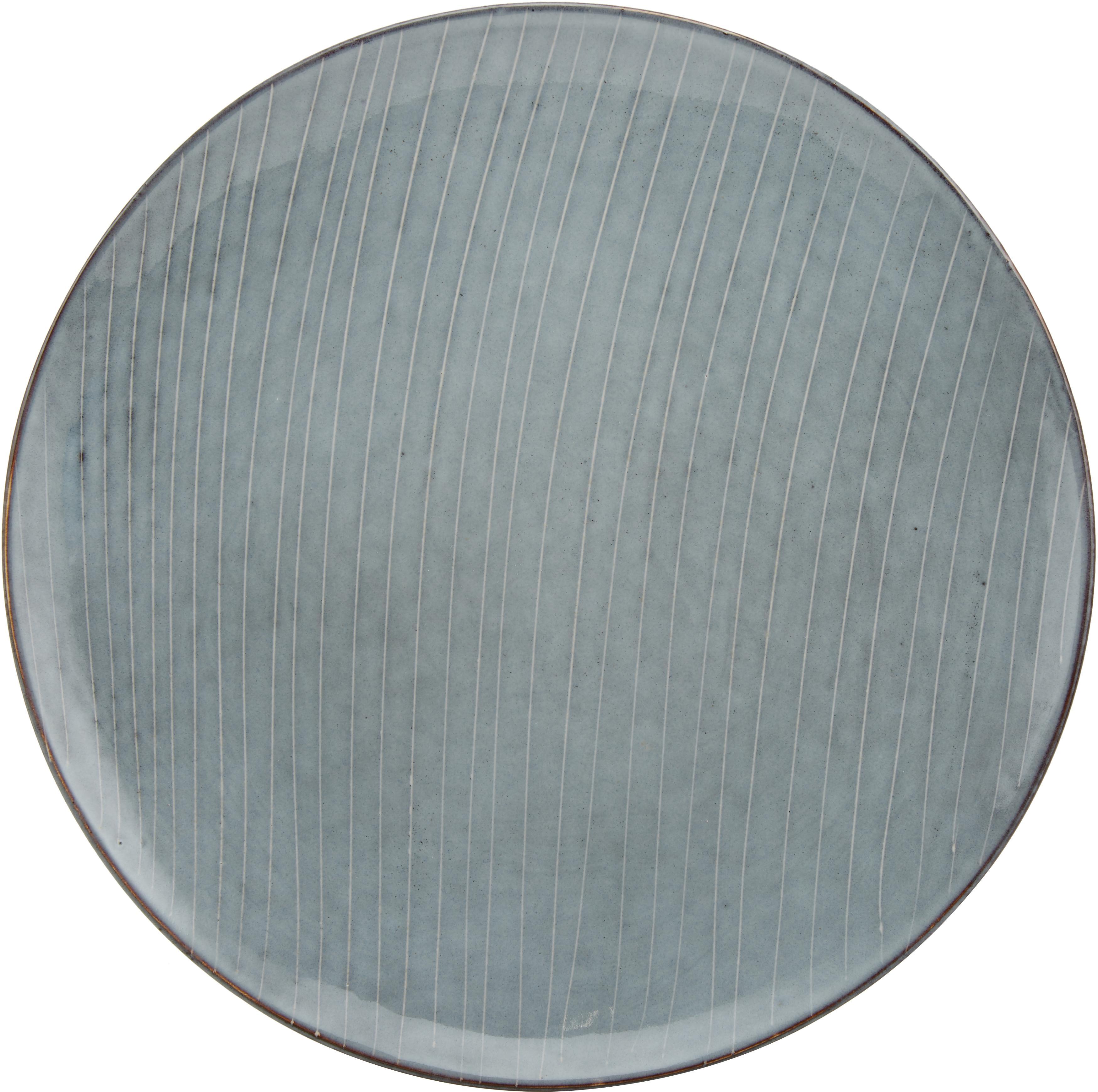 Piatto piano in terracotta fatto a mano Nordic Sea 4 pz, Terracotta, Grigio e tonalità blu, Ø 26 cm