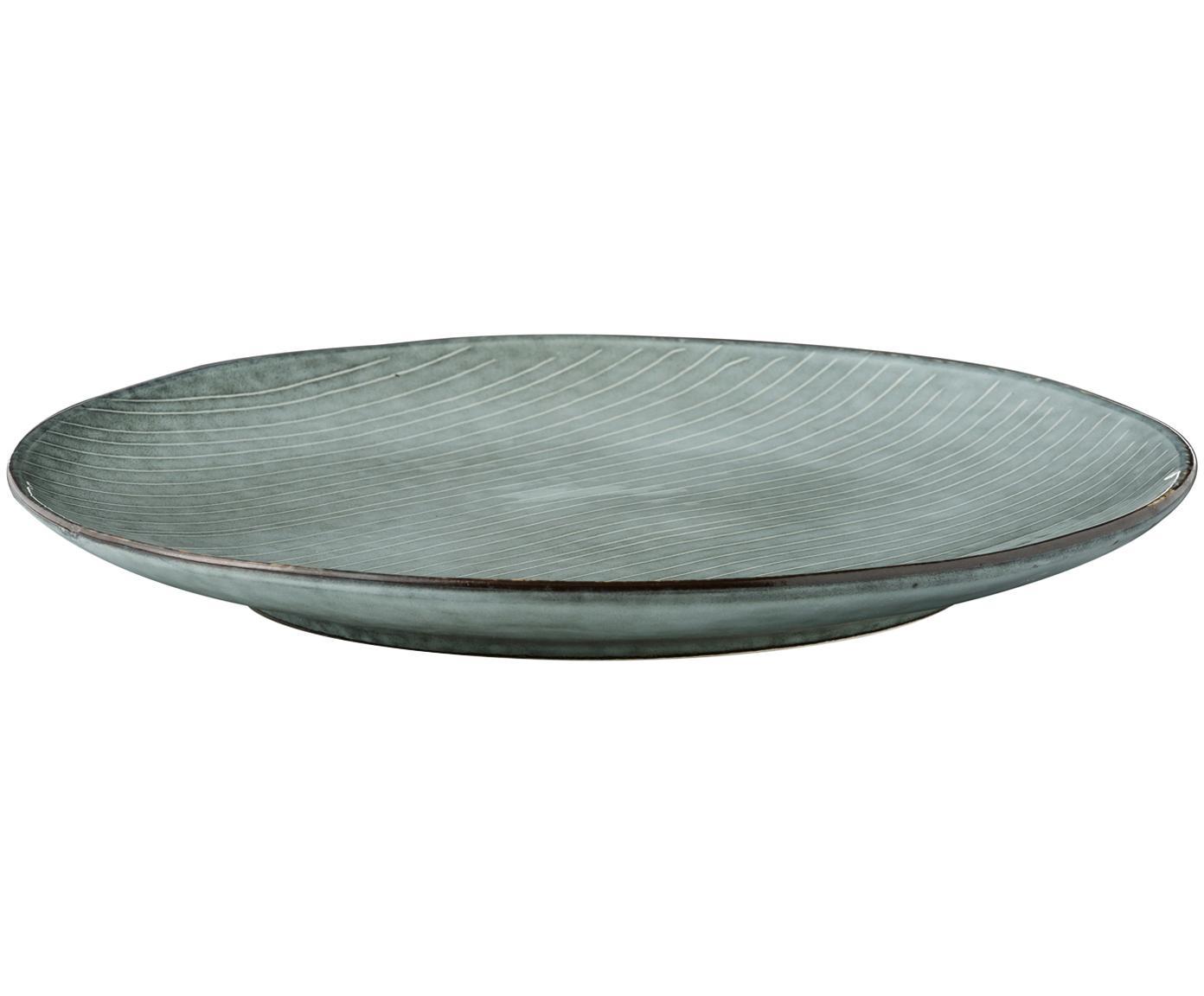 Platos llanos artesanales Nordic Sea, 4uds., Gres, Tonos de gris y azul, Ø 26 cm