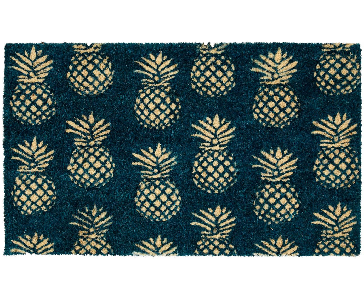 Fussmatte Pineapples, Vorderseite: Kokosfaser, Rückseite: PVC, Dunkelblau, Beige, 45 x 75 cm
