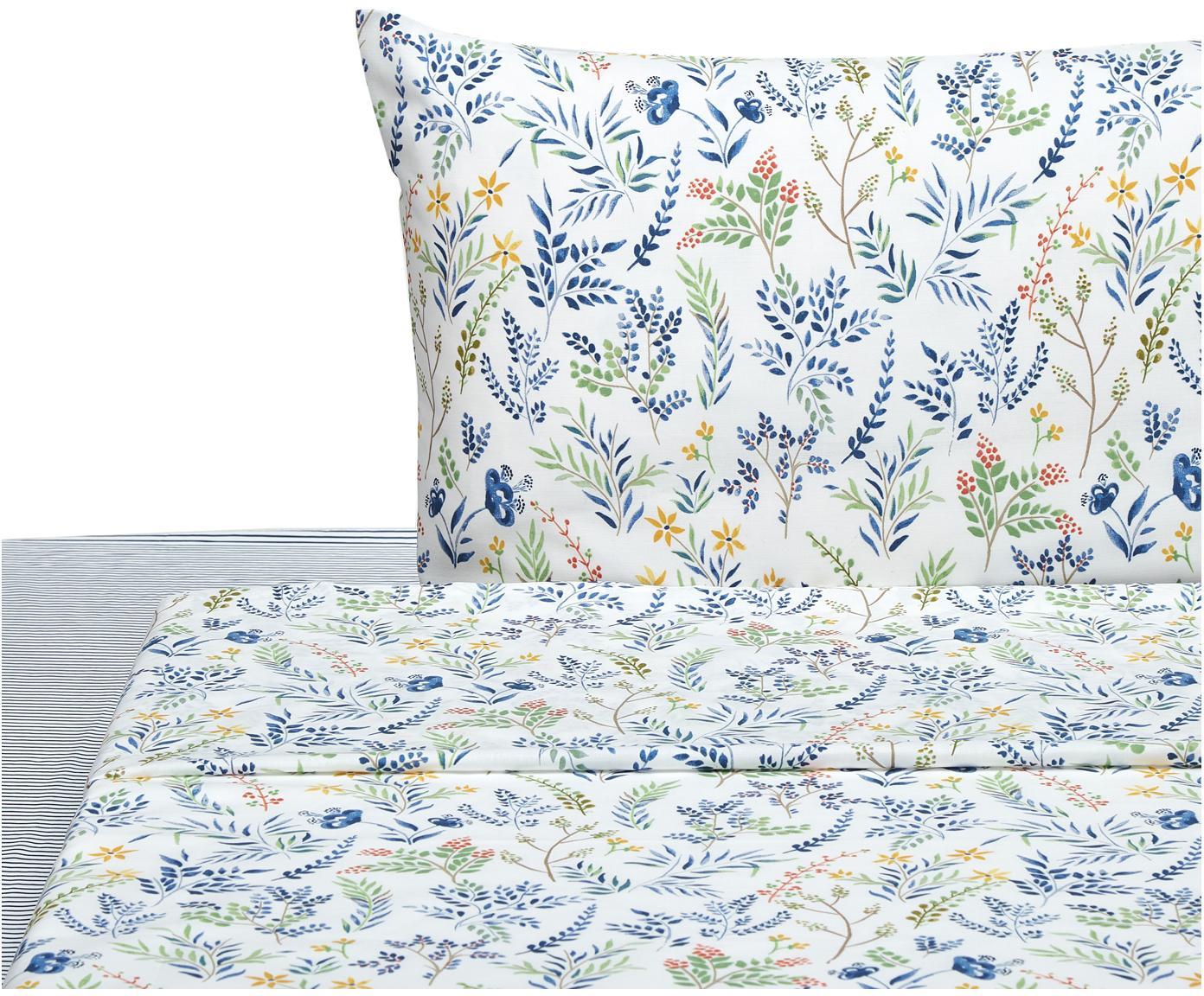 Completo letto Springfield, Cotone, Bianco, blu, multicolore, 195 x 280 cm