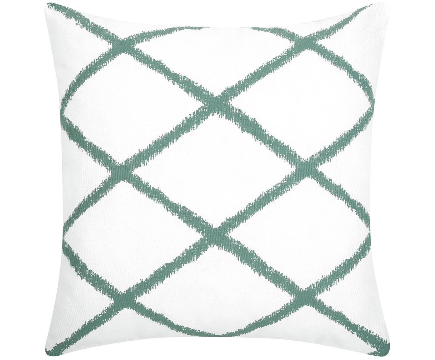 Federa arredo con motivo a rombi Laila, Cotone, Bianco, verde salvia, Larg. 45 x Lung. 45 cm