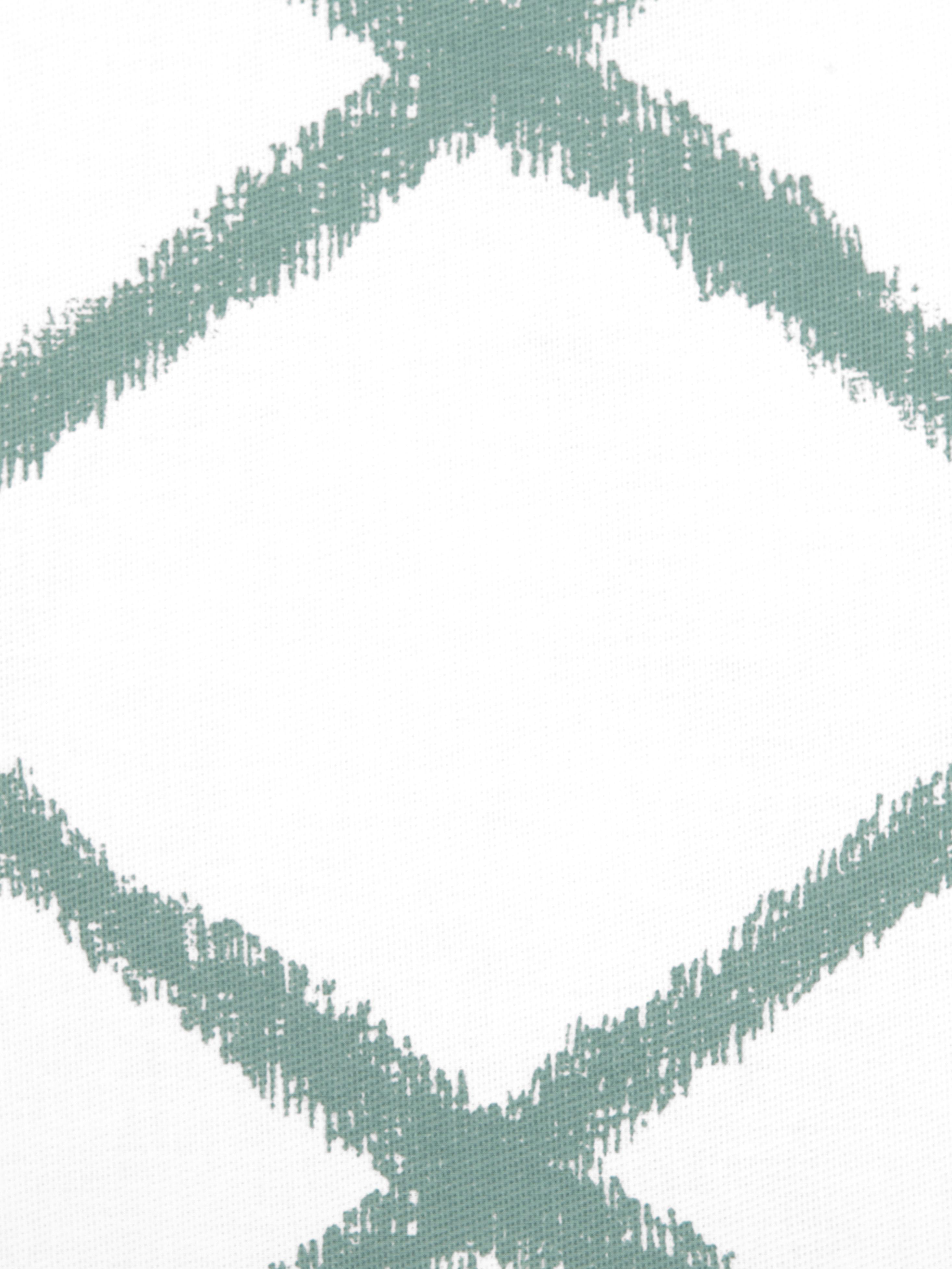 Kussenhoes Laila, 100% katoen, Wit, saliegroen, 45 x 45 cm