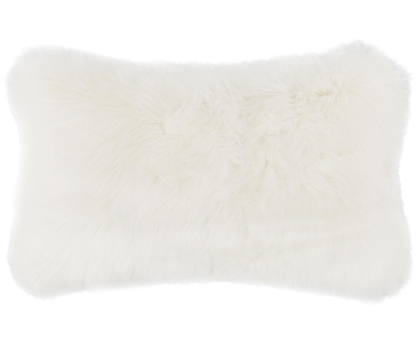 Flauschige Kunstfell-Kissenhülle Mathilde, glatt, Vorderseite: 67% Akryl, 33% Polyester, Rückseite: 100% Polyester, Creme, 30 x 50 cm