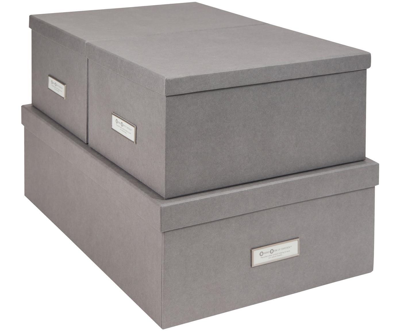 Set de cajas Inge, 3pzas., Caja: cartón laminado, Gris claro, Tamaños diferentes