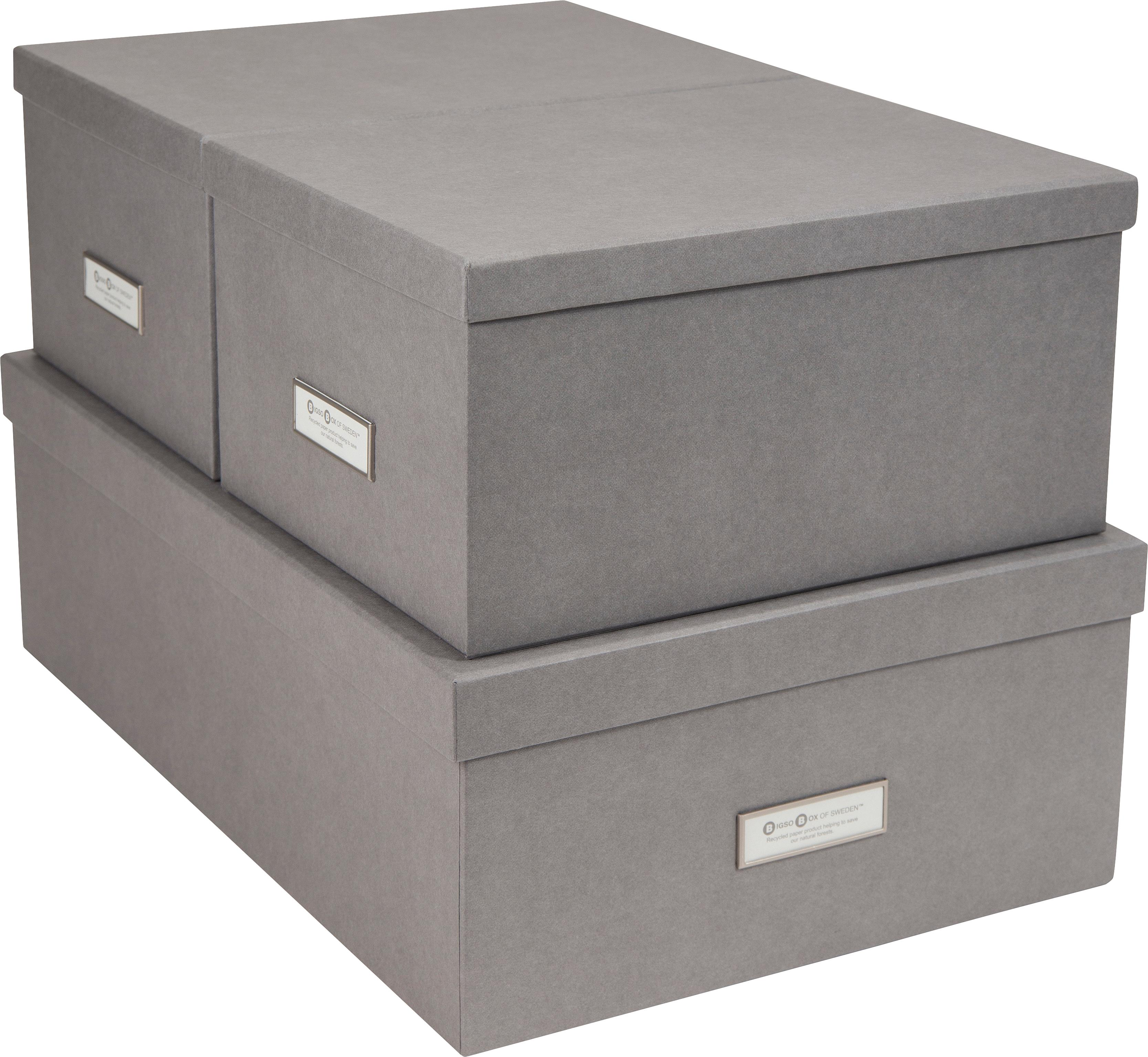 Set 3 scatole Inge, Scatola: solido, cartone laminato, Scatola esterno: grigio chiaro Scatola interno: bianco, Diverse dimensioni