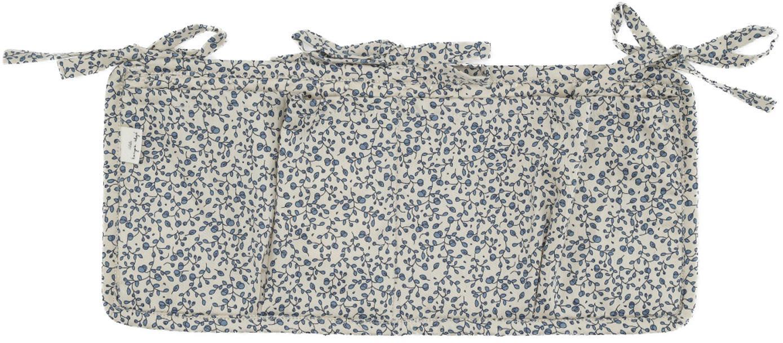 Betttasche Quaby aus Bio-Baumwollsatin, Bezug: Bio-Baumwollsatin, GOTS-z, Weiß, Blau, 17 x 35 cm