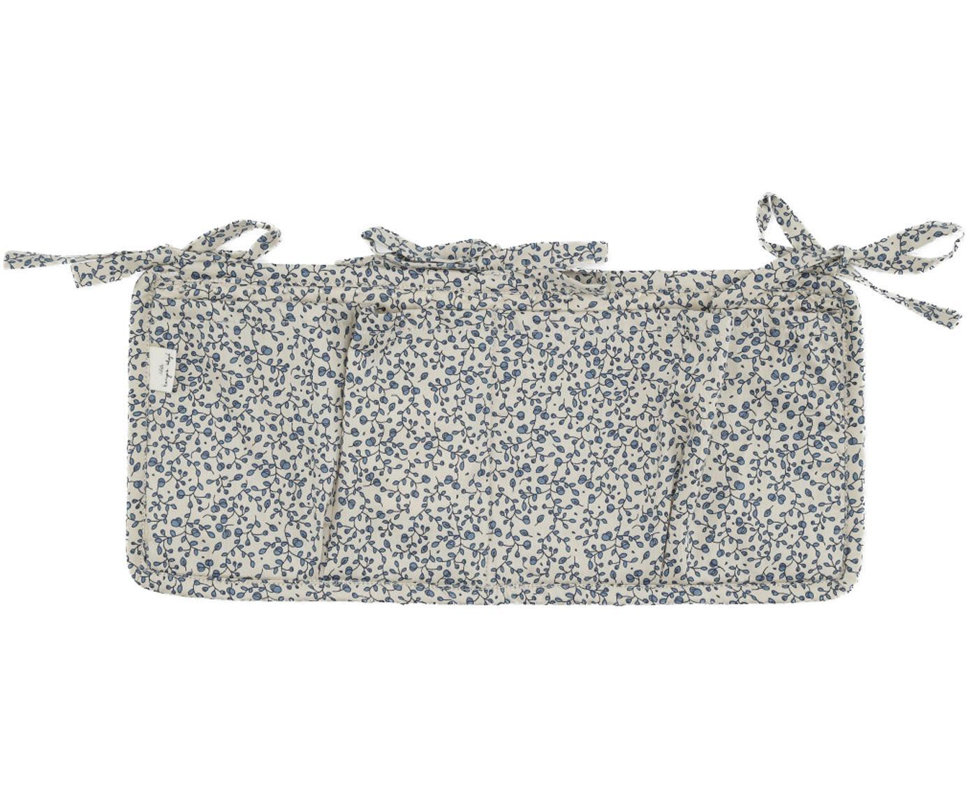 Portaoggetti per lettino e culla Quaby, Rivestimento: raso di cotone organico, , Bianco, blu, Larg. 17 x Alt. 35 cm