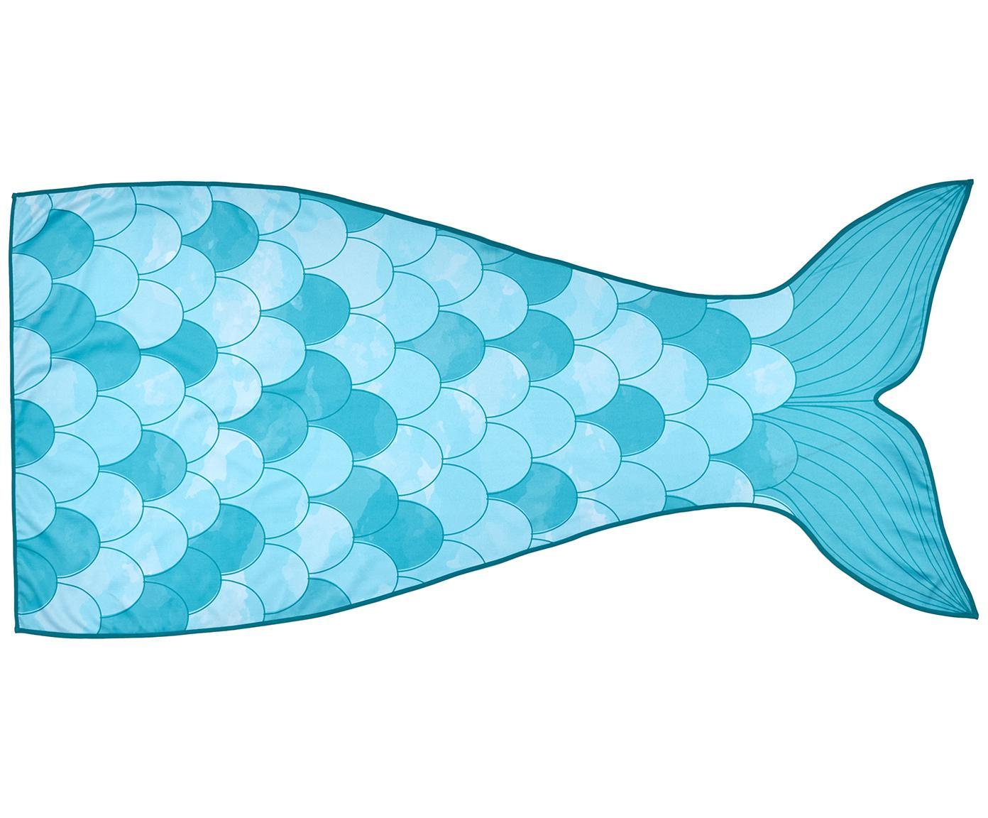 Toalla de playa Mermaid, 55%poliéster, 45%algodón Gramaje ligero 340g/m², Azul claro, turquesa, blanco, An 87 x L 180 cm