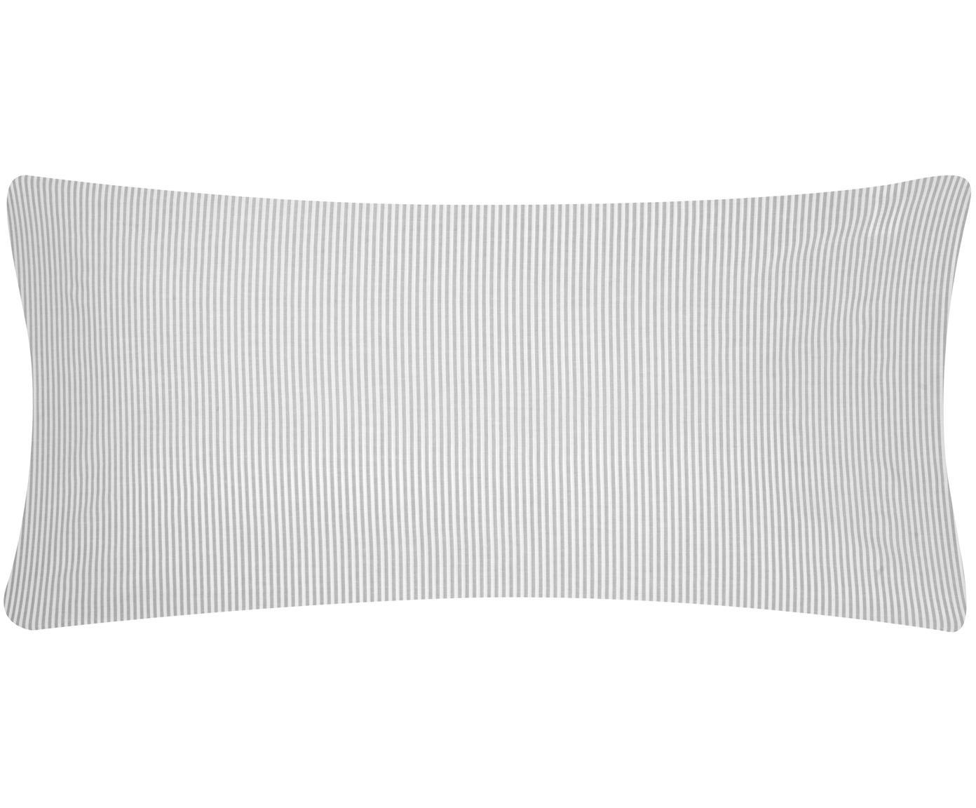 Funda de almohada en tejido renforcé Ellie, Blanco, gris, An 45 x L 110 cm