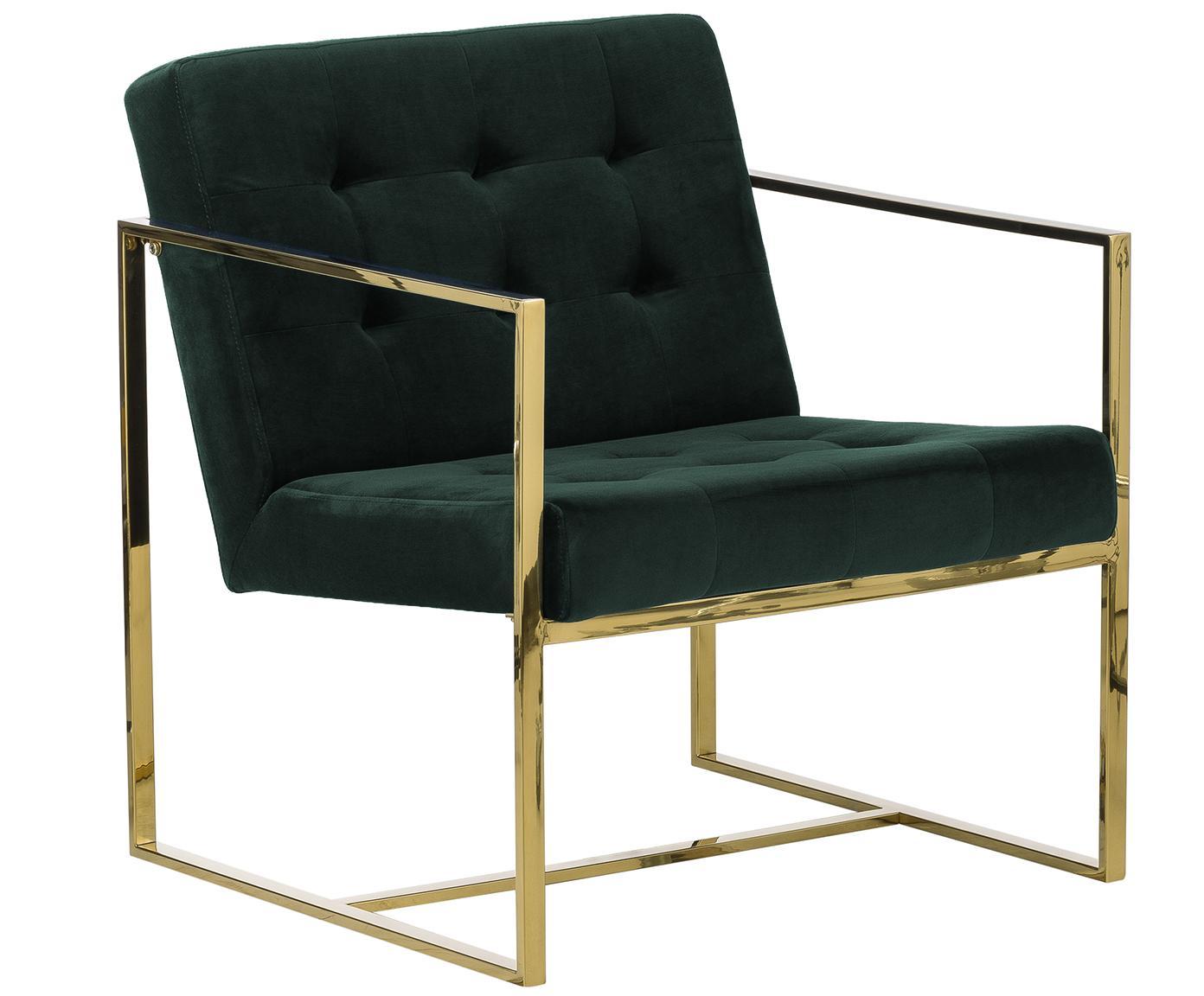 Sedia a poltrona in velluto Manhattan, Rivestimento: velluto (poliestere), Struttura: metallo rivestito, Velluto verde scuro, Larg. 70 x Prof. 72 cm